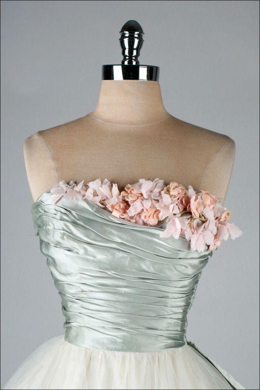 Vintage 1950's Ceil Chapman Silk Satin Millinery Trim Dress