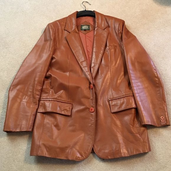 Men's leather blazer Men's leather blazer 42 regular color similar to cognac Jackets & Coats Blazers