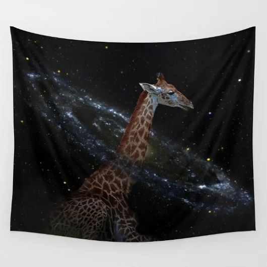 Society6 giraffe sleeping with its head in a galaxy