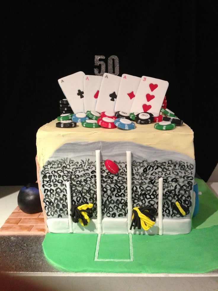 A sport themed cake representing cricket, AFL football, golf, ten pin bowling and poker. Layered mudcake: dark choc, milk choc & white choc. Filled and covered with white choc ganache. Fondant decorations.  See all sides on the 5 side sport cake Board on my page.