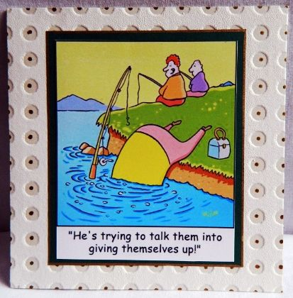Fishing fans. This card has a single layer picture which is then layered on backing paper with gold coloured dots in the embossed backing paper.