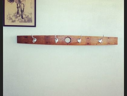$72.00 Coat Rack - Upcycled from a red wine barrel