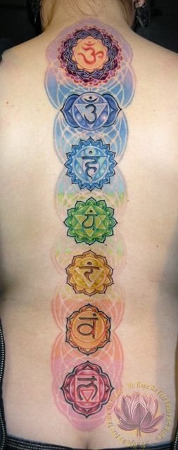 The spine is important in a spiritual and medical way. Colorful chakras tattoos by James Kern.