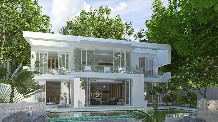 facade villa white rapprochee