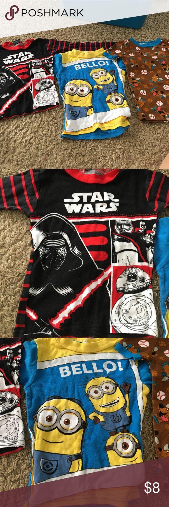 Boys pj tops Star Wars long sleeve. Minions long sleeve. Scooby doo t shirt. Sold together. Fits small. Pajamas Pajama Tops