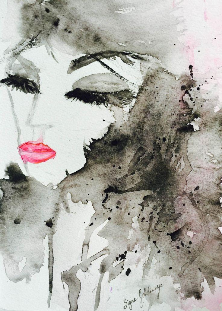 Original Watercolor paintig by Signe Goldeneye, Titled - She Looked Like Art. by SigneGoldeneye on Etsy