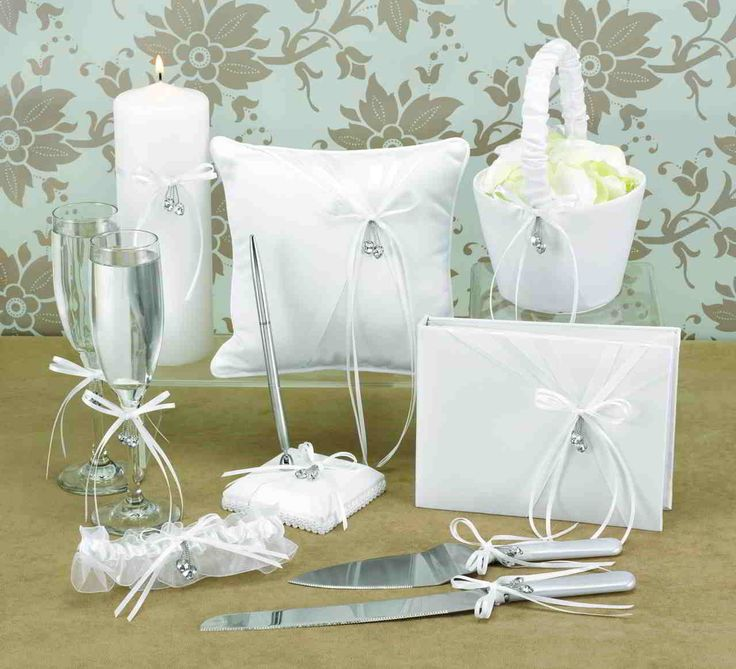 Wedding Supplies Pure White Design for Pillow, Ring Bearer, Flower, Set Flutes Guest Book, Pen Set, Cake Serving and Girl Basket