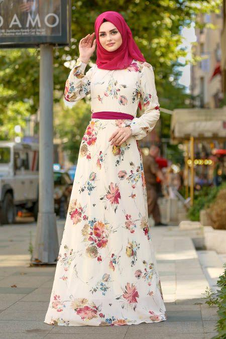 359a64db39a38 Nayla Collection - Çiçek Desenli Bej Tesettür Elbise 81539BEJ #tesettur  #tesetturgiyim #moda #fashion #elbise