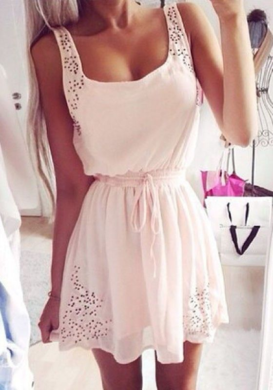 White Plain Hollow-out Drawstring Shoulder-Strap Dress - Mini Dresses - Dresses
