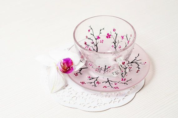 Cherry Blossom Cup and Saucer Teacup Set Gift for by Vitraaze