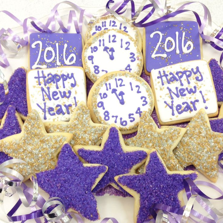 Sparkling New Year's Eve Sugar Cookies in purple, gold and silver! By Bake Sale Toronto.