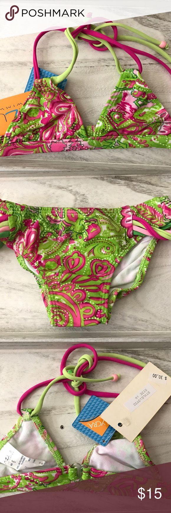 Azul Girls Swimwear Pink And Green Triangle Bikini An adorable pink and green print highlights this bikini set from Azul Swimwear. Tie embellishments complete this bikini set Azul Swimwear Swim Bikinis