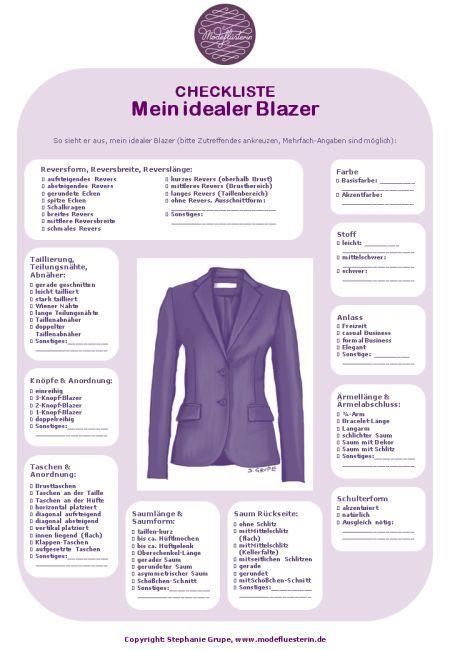 Welche idealen Details hat Ihr Blazer? Mit dieser Checkliste zum kostenlosen Download, wird der Einkauf Ihres Traum-Blazers leichter.