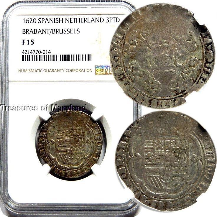 NGC F15 Certified! 1620 Spanish Netherlands Silver 3 Patards! sku #0014
