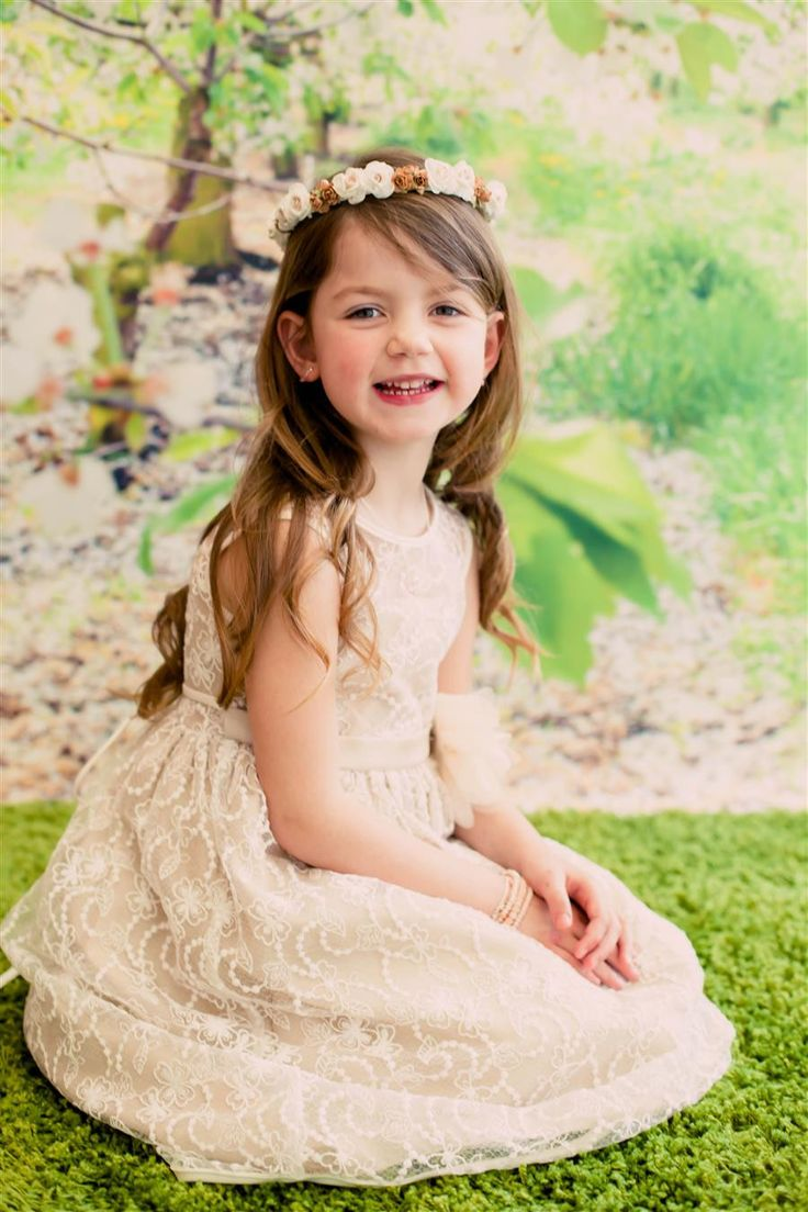 Adorable Lace Overlay Flower Girl Dress with Matching Flower