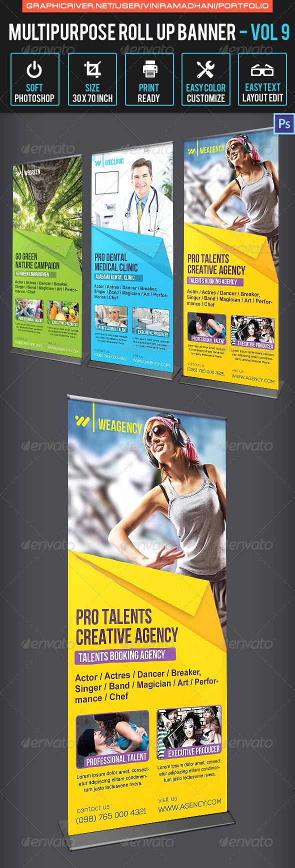 Multipurpose Roll Up Banner | Volume 9 - Signage Print Templates