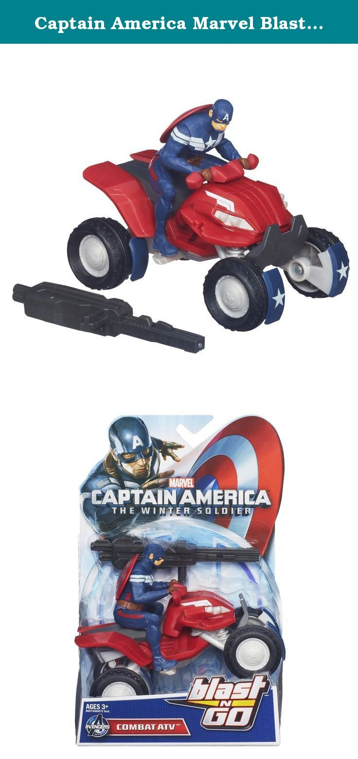 Captain America Marvel Blast 'N Go Combat ATV Vehicle. Marvel Captain America Blast N Go Combat ATV Vehicle Rocket into battle with the Combat ATV vehicle! Your Captain America figure will be way too fast for his enemies to handle on this heavy-duty combat vehicle. Protected from behind with his shield on his back, he can chase his enemies down and then take them out with his launcher. Press the button to launch him into the fight for justice!Marvel products are produced by Hasbro under...