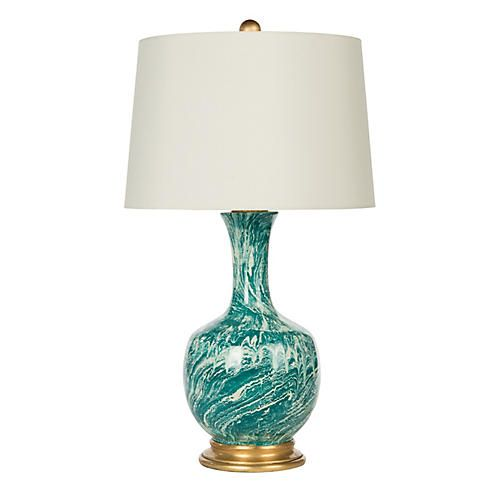 Astor Table Lamp, Teal Marble