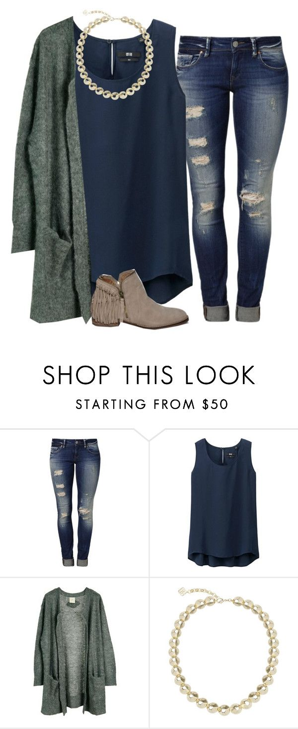 """I'll stand in full surrender, cause your way is not my own"" by madelynprice ❤ liked on Polyvore featuring Mavi, Uniqlo, Julie Fagerholt Heartmade, Kendra Scott and Abercrombie & Fitch"
