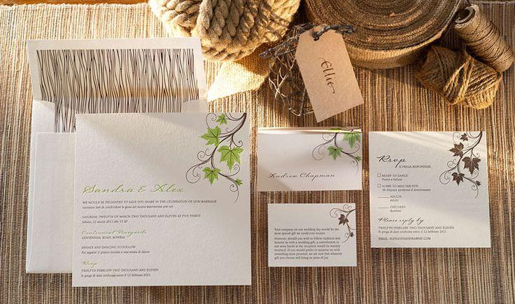 Vineyard letterpress wedding invitation.