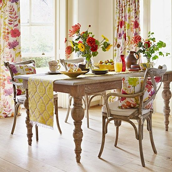 Bright Pops Of Countryside Colour Will Liven Up A Simple Rustic Style Dining  Set. Think Fresh Flowers, Colourful Table Runners And Vibrant Food U0026 Drink.