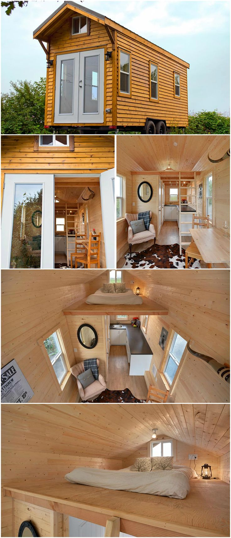 Cabin in the Woods is the rustic exterior model by Mint Tiny Homes. As with their other models, the Cabin can be built with either wood or metal framing and 20′, 22′, or 24′ lengths. French doors and windows throughout allow for plenty of natural light.  The interior uses tongue and groove wall paneling, linoleum flooring, and propane heating. There are 4″x4″ exposed cedar roof beams under the bedroom loft.