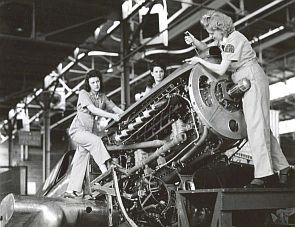 Female trainees at Middletown, PA, 1944. The Middletown Air Service Command stockpiled parts and overhauled military airplanes. During WWII, Middletown's workforce grew from 500 to more than 18,000, nearly half of them women.
