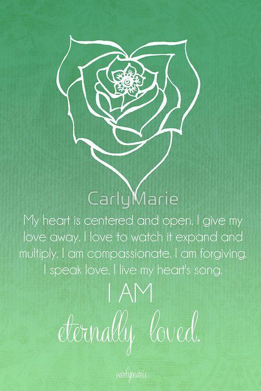 Mein Herz ist offen und in seiner Mitte. Ich gebe all meine Liebe. Ich liebe es zu sehen, wie sich diese Liebe ausdehnt und multipliziert. Ich bin mitfühlend. Ich vergebe. Ich spreche die Sprache der Liebe. Ich lebe die Melodie meines Herzen. ICH BIN UNENDLICH GELIEBT! by Carly Marie