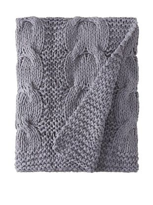 Amity Cable Knit Throw (Steel Blue)