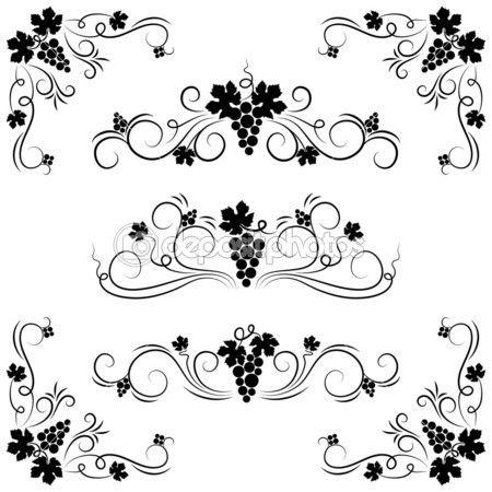 Элементы дизайна винограда — стоковая иллюстрация #4403991