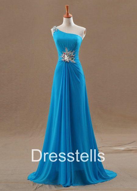 Long Oneshoulder Prom Dress /  Blue Prom Dress / by dresstells, $149.99