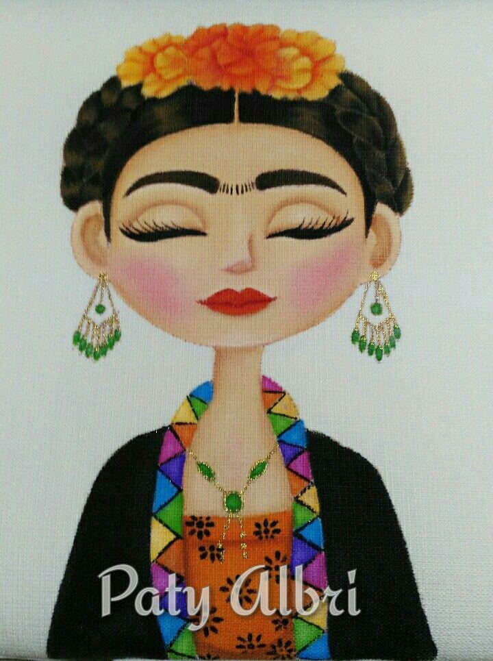 Frida k para jgo. de baño Pintura textil Elaborada por Paty Albri
