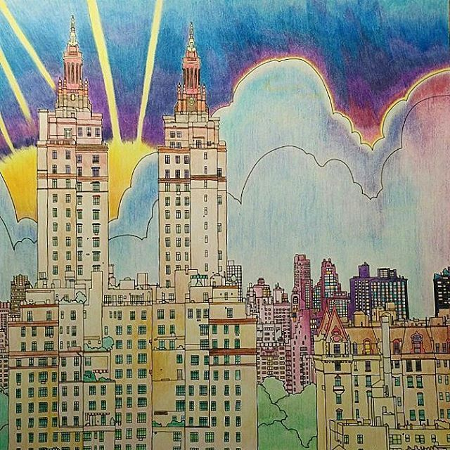 Colouring Coloring Books Manhattan Sunset Colors Central Park Cities Sunsets