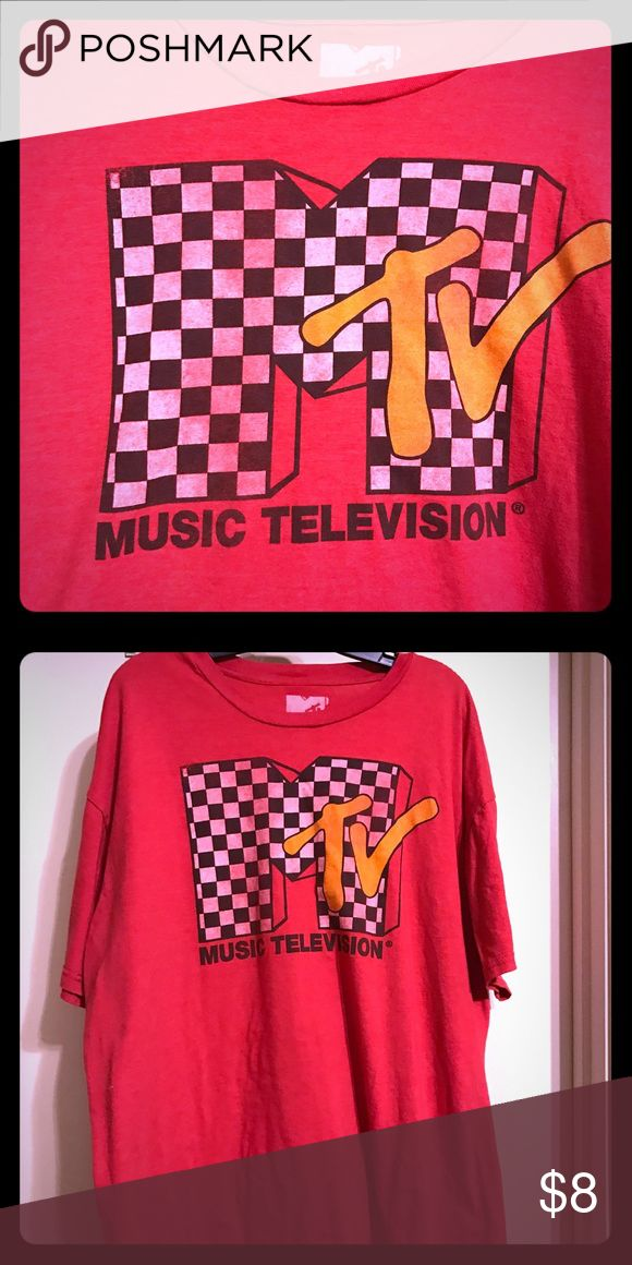 Cool Vintage-Style MTV Red 2XL T-Shirt Cool Vintage-Style MTV Red 2XL T-Shirt - Only Worn Twice - Excellent Condition - Super Soft & Comfortable - Original Checkered 80's Style MTV Logo Short Sleeved Tee Shirt! Tops Tees - Short Sleeve