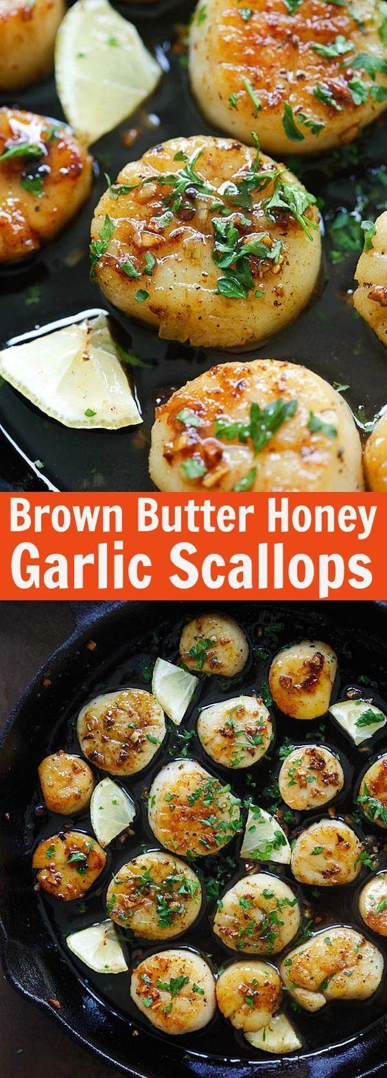 Brown Butter Honey Garlic Scallops – crazy delicious seared scallops with brown butter and honey garlic sauce. The best scallops recipe ever | rasamalaysia.com
