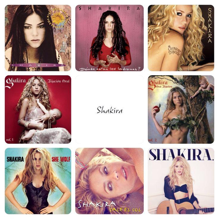 Shakira's 8 Albums since 1995:  Pies Descalzos (1995) ¿Dónde están los Ladrones? (1998) Laundry Service (2001) Fijación Oral Vol. 1 (2005) Oral Fixation Vol. 2 (2005) She Wolf (2009) Sale el Sol (2010) Shakira. (2014)