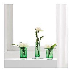 IKEA - ANVÄNDBAR, Vas för sticklingar, set om 3, Du kan själv skapa nya plantor genom att låta sticklingar slå rot innan du planterar dem i krukor.Munblåst; varje vas är formad av en skicklig hantverkare.
