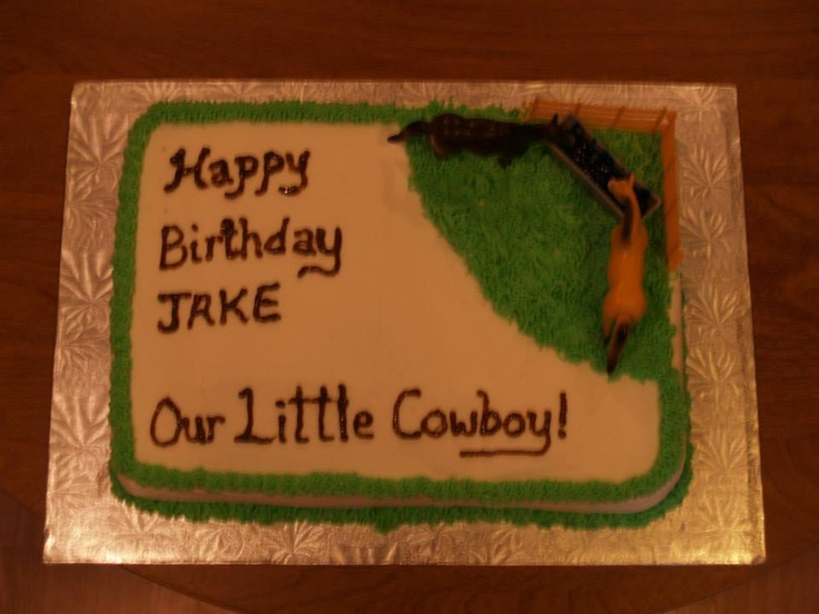 Top view of cowboy themed cake