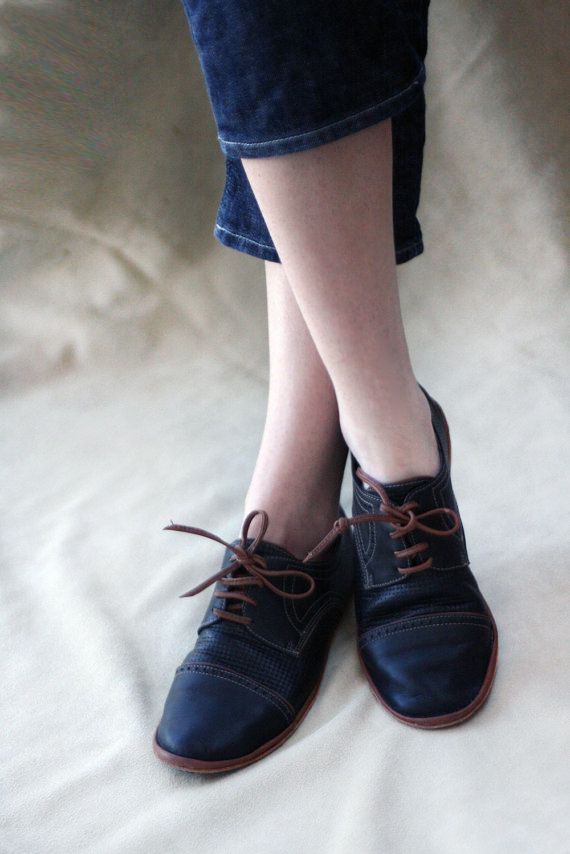 Black and Brown Chaplin Shoes - Leather Women's Oxfords - CUSTOM FIT on Etsy, $135.70