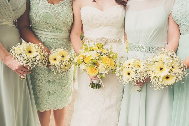 Bride Bridesmaid Bouquets Flowers Daisy Rose Gypsophila Gerbera Quirky Relaxed Yellow Country Wedding http://www.mr-and-mrs-wedding-photography.co.uk/