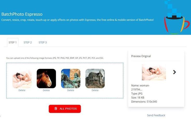 BatchPhoto Espresso es una nueva aplicación web gratuita para convertir, cambiar el tamaño, recortar, rotar, retocar o aplicar efectos a fotos e imágenes.