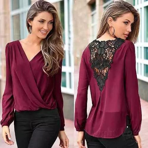 blusa camisa dama mujer crochet cuero en espalda