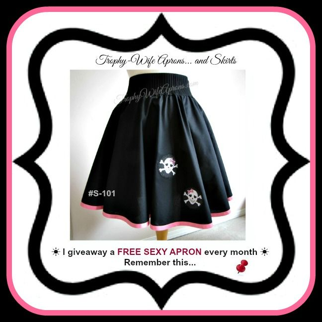 "☀ SAVE it to WIN it ☀  Trophy-Wife Skirt # S-101 -  $59.99 - This skirt will fit waist sizes 36"" to 40"" 17"" long from the black elastic to the bottom. Available in all sizes at www.TrophyWifeAprons.com  ☀ ☀ I give away a FREE Funky Hostess Apron every month ☀ ☀ CLICK HERE for details==>  www.TrophyWifeAprons.com"