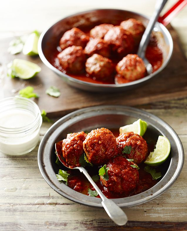 Mexican chicken meatballs with tomatillo sauce - Pete Evans