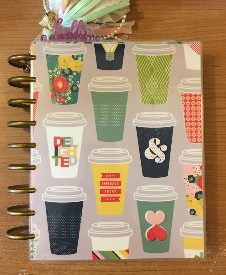 Happy Planner Cover, COFFEE LOVER, Coffee Cups, Inspirational Words, Mint, Gray, Pink, Red, Classic or Large/Big Size Front Cover Only by planNIRVANA on Etsy
