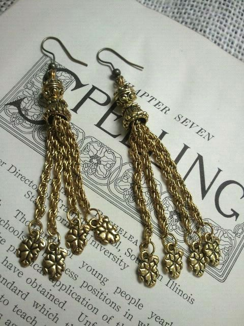 make a statement with these brass 4 chain dangle earrings