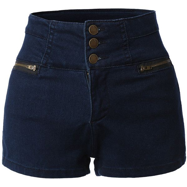 Womens High Waisted Sailor Nautical Denim Jean Shorts with Stretch (245.145 IDR) ❤ liked on Polyvore