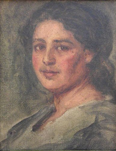 CABEZA DE ESTUDIO, MARIANA,  Óleo sobre Tela 42 x 35 cm Museo Nacional de Bellas Artes