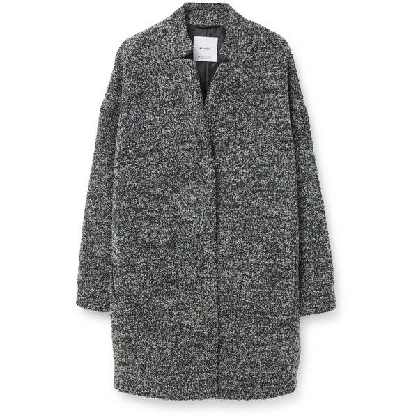 Mango Boucle coat (460 RON) ❤ liked on Polyvore featuring outerwear, coats, jackets, coats & jackets, grey, women, gray coat, long sleeve coat, fur-lined coats and grey coat