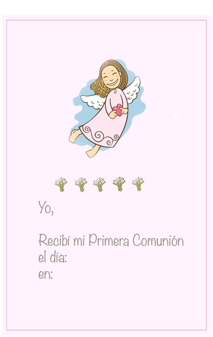 Recordatorio de la primera comuni n para imprimir con un ngel volando sobre fondo rosa http - Recordatorios de comunion para imprimir ...